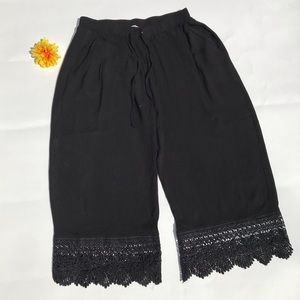Umgee Cropped Pants Boho Chic Crochet Black S